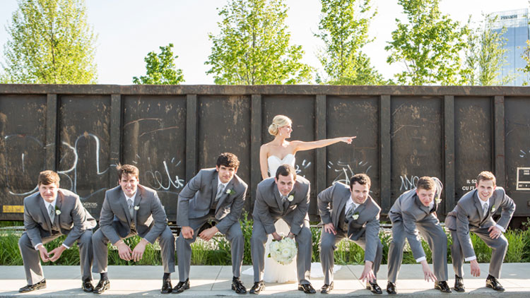 A May rooftop wedding at The Bridge Building Event Spaces.
