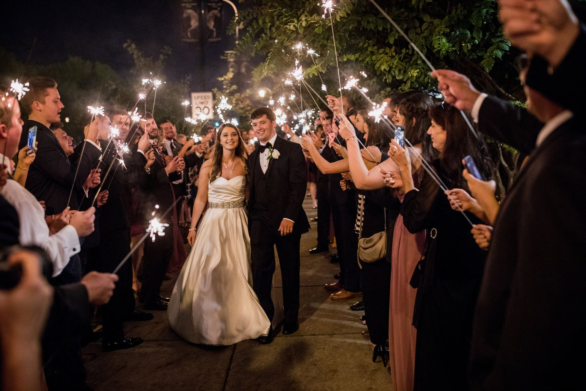 Christina and Clint's wedding sparkler send off