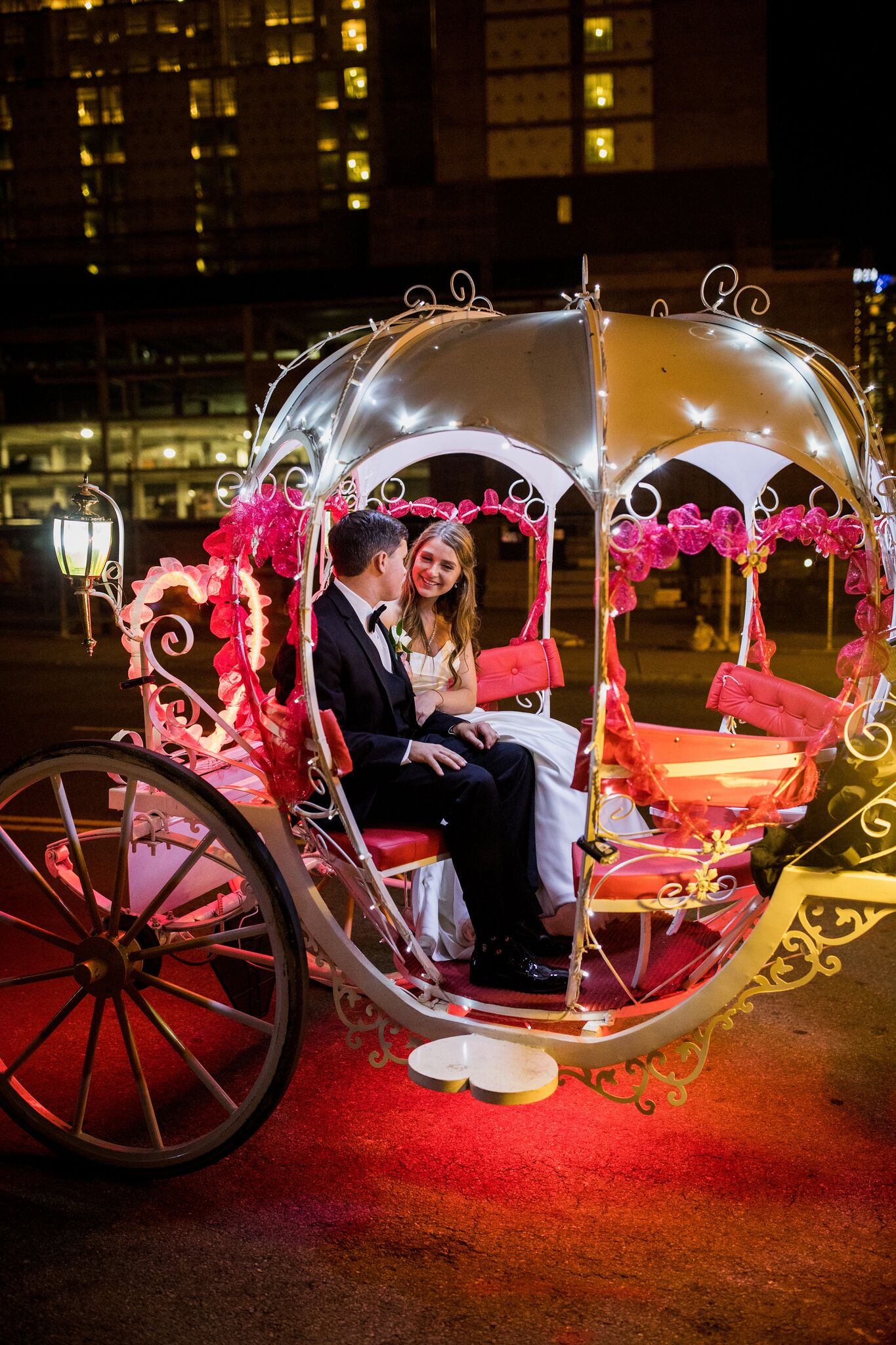 Christina and Clint's horse-drawn carriage exit