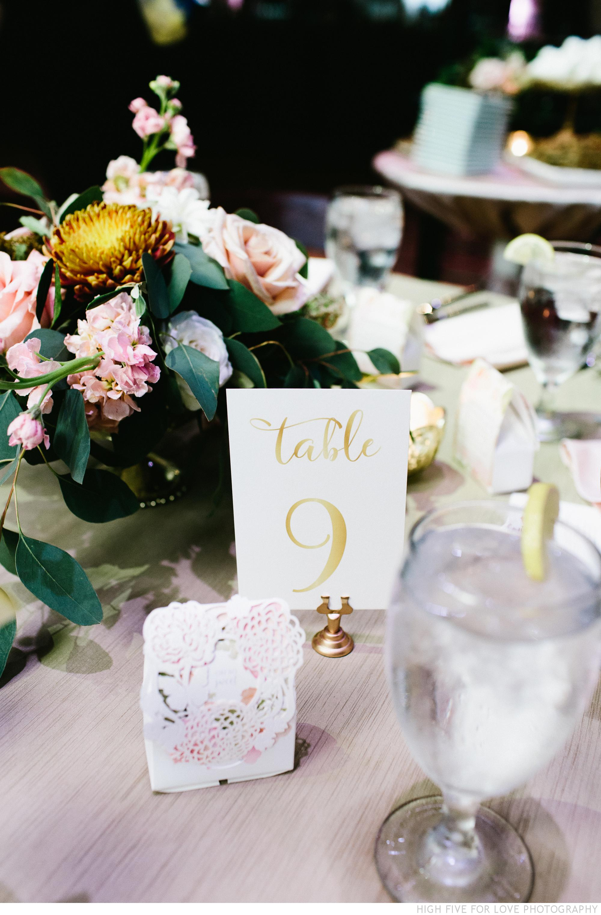 Amy and Brandon's wedding table numbers