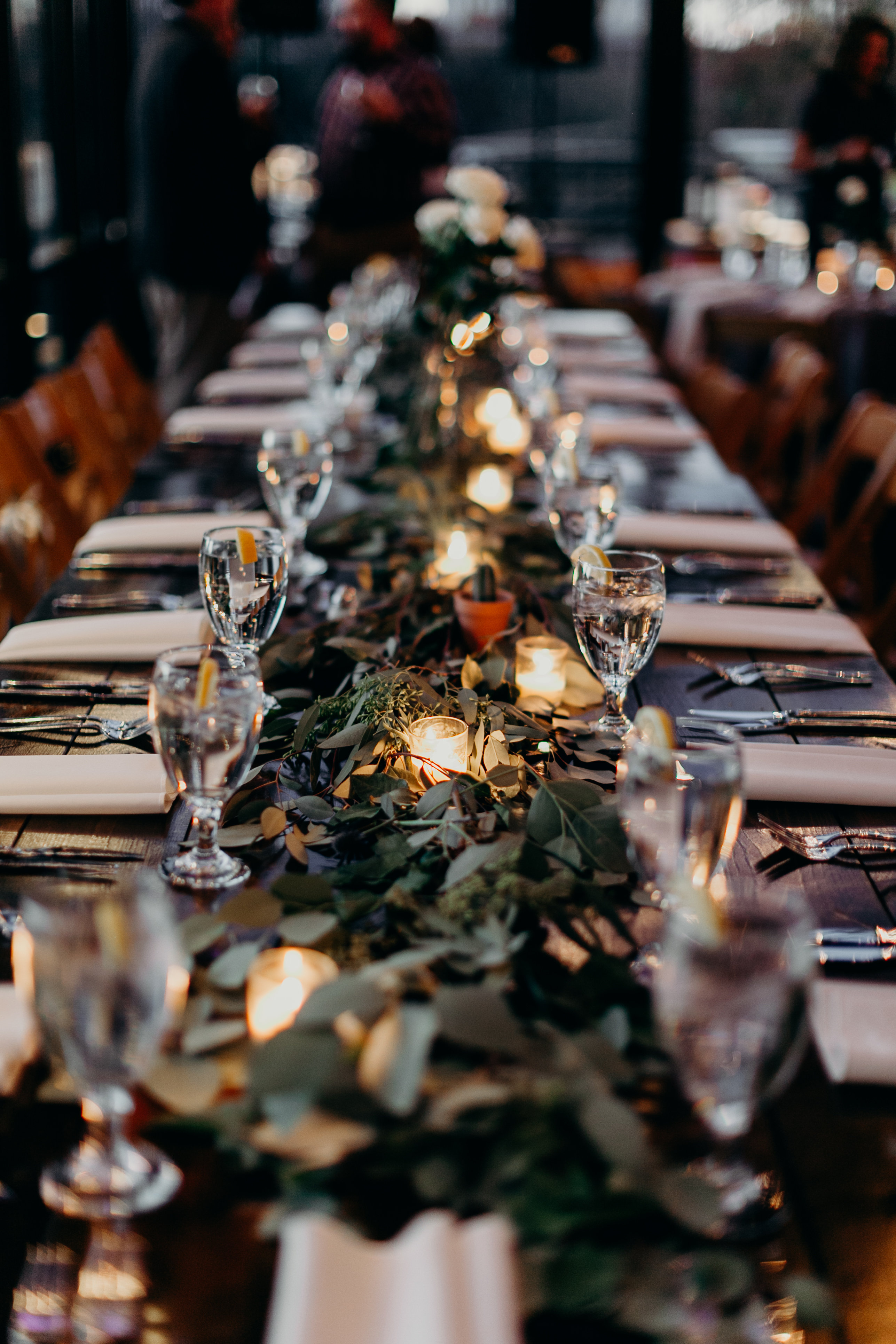 Chelsey and Parker's wedding reception table decor