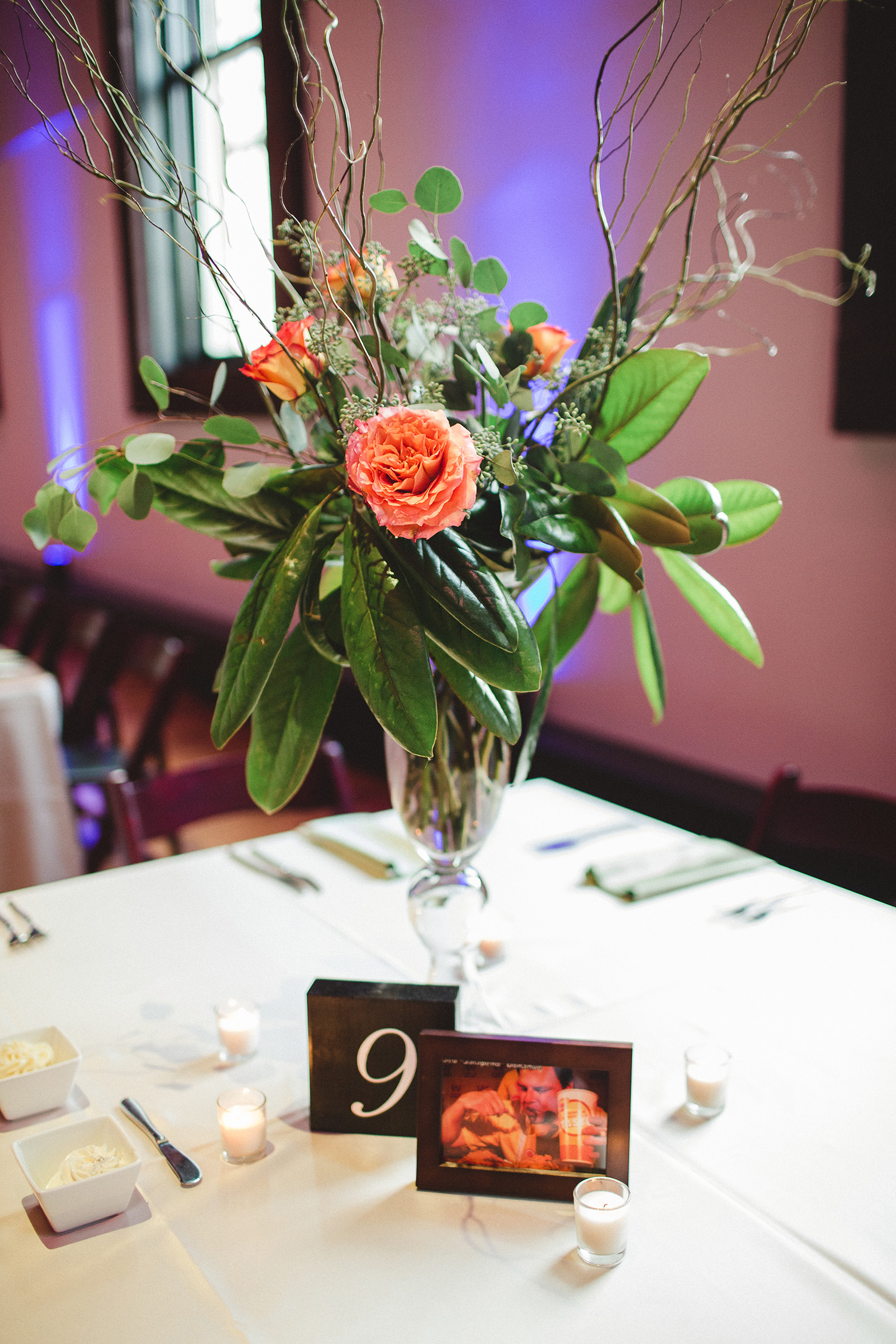 Caitlin and Jed's centerpieces
